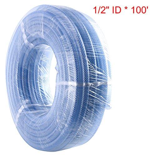Homend 100 x 12 ID High Pressure Braided Clear Flexible Industrial PVC Tubing Heavy Duty UV Chemical Resistant Vinyl Hose Water 12 ID X 100FT