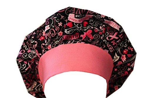 Scrub Cap Hat Bouffant Black Pink Ribbon Cancer Awareness