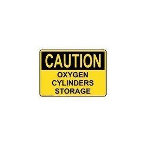 Caution Oxygen Cylinders Storage Sticker 14 x 10