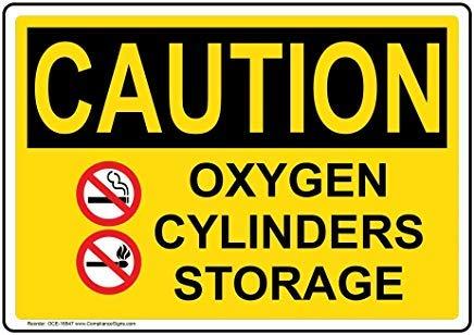 liuKen Caution Oxygen Cylinders Storage OSHA Safety SignFunny Wanring SignsGate SignHence Yard Sign8x12for Gases Hazmat