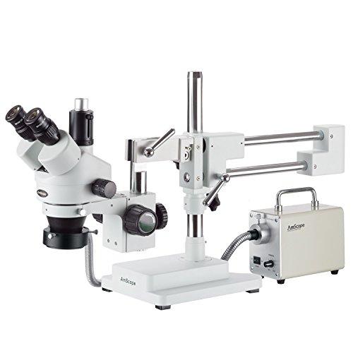 AmScope 35X-180X Simul-Focal Trinocular Boom Stereo Microscope with LED Fiber Optic Ring Light