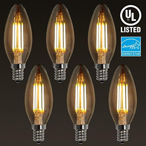 6-PACK LED Filament Candelabra E12 Bulb ENERGY STAR UL-listed Vintage Candle Light 2700K Soft White 4W 40W Incandescent Equiv 300° Beam Angle for Chandelier Wall Sconces Pendant Lighting
