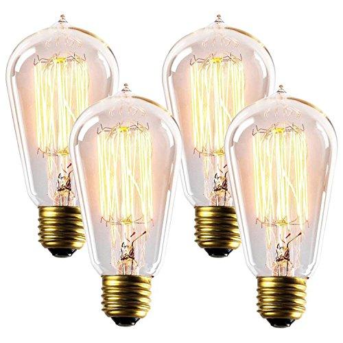 60W Edison Light Bulbs ST58 Filament Vintage Bulb Antique Style Incandescent Clear Glass Light Squirrel Cage Design E26E27 Medium Base Lamp 4 Pack for Chandeliers Wall Sconces Pendant Lighting
