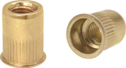 Ribbed K Series Rivet Nuts - Material Steel-Yellow Zinc Thread Size 10-32 UNC Grip Range 020-130 100 Piece Box