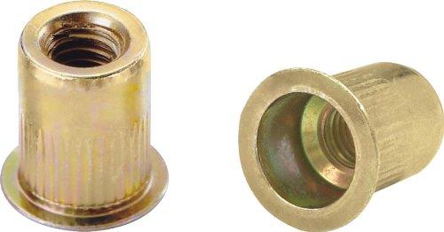 Ribbed L Series Rivet Nuts - Material Steel-Yellow Zinc Thread Size 6-32 UNC Grip Range 020-080 100 Piece Box