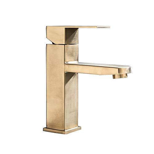 YANGYANG Black Deck Mounted Bathroom Basin Mixer Tap Square Single Handle Basin Vessel Sink Faucet Hot Cold Water Faucet for Basin Color  Brushed Gold