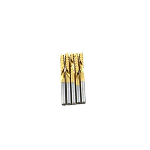 SHINA 5x 18 Titanium N2 Coated Carbide CNC Router Bits Single One Flute Tools 17mm