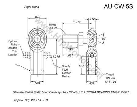 Aurora Bearing Company CW-5S 516-24 Stud - RH  Rod End Thread - RH