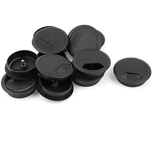 12 Pcs 60mm Round Black Plastic Computer Desk Grommets Wire Hole Cover