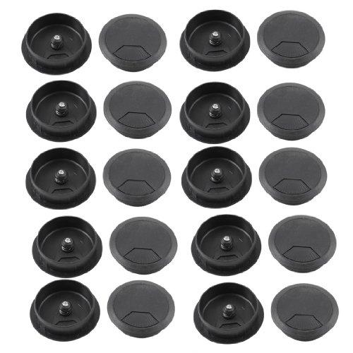 uxcell Plastic PC Computer Desk Grommet Cable Hole Cover 50mm Diameter 20 Pcs Black