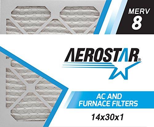 Aerostar 14x30x1 MERV 8 Pleated Air Filter 14x30x1 Box of 6 Made in the USA
