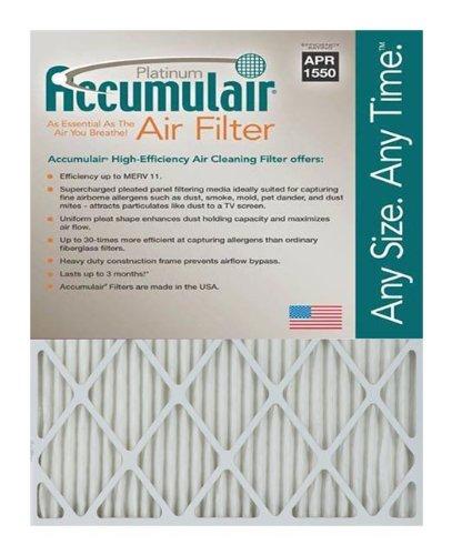 Accumulair Platinum 24x25x4 235x245x375 MERV 11 Air FilterFurnace Filters 2 pack