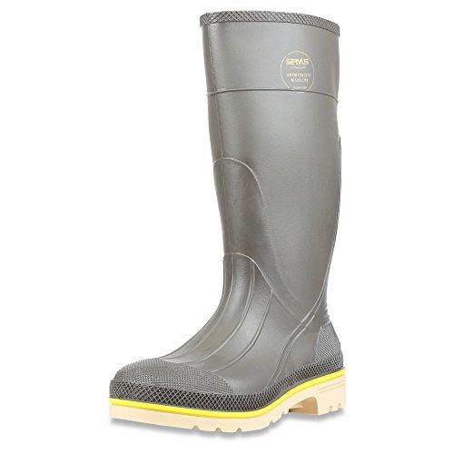 Servus Pro 15 PVC Chemical-Resistant Steel Toe Mens Work Boots Gray Yellow Beige 75105