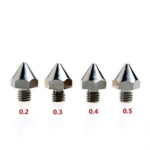 DIKAVS 4PCS 3D Printer Precision Stainless Steel M6 Nozzle 02mm03mm04mm05mm For 175MM MK8 Makerbot Ultimaker UM2 E3D