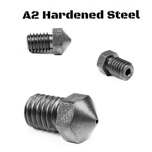 Micro Swiss A2 Hardend Steel Nozzle E3D V5-V6 Prusa i3 MK2 RepRap - M6 Thread 175mm Filament 8mm