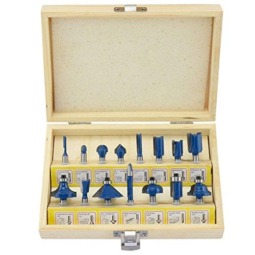 Te echo de menos 15pc Router Bits 14 inch Shank Tungsten Carbide Rotary Power Tool Accessories