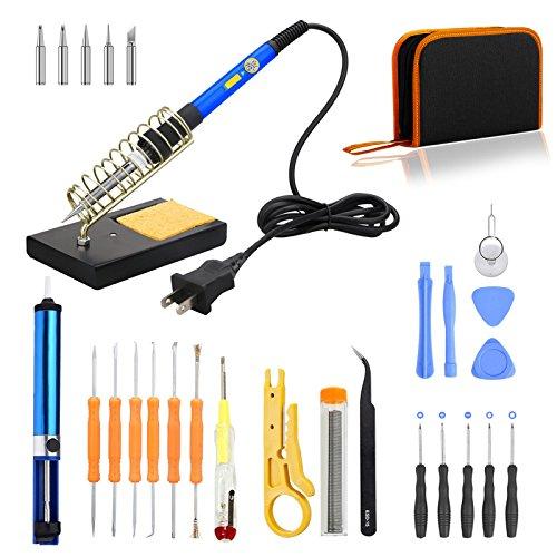 Full Set Electronics Soldering Iron Kit60W 110V Adjustable Temperature Soldering Iron6 ToolsSoldering StandSucker5 TipsSolder WireTweezerWire Stripper Cutter Circuit TesterPry Repair Kit