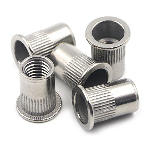Angelakerry 20pcs M10 Stainless Steel Rivnut Insert Nutsert Flat Head Rivet Nut Threaded Multi