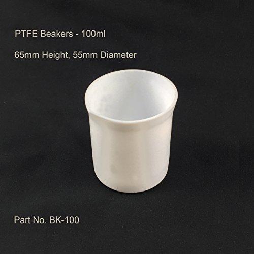 Azzota 100 mL 34 oz PTFE Beakers - PTFE Natural White Non-graduated