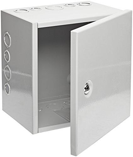 BUD Industries JBH-4961-KO Steel NEMA 1 Sheet Metal Box with Knockout and Hinged Cover 10 Width x 10 Height x 6 Depth Gray Finish Renewed