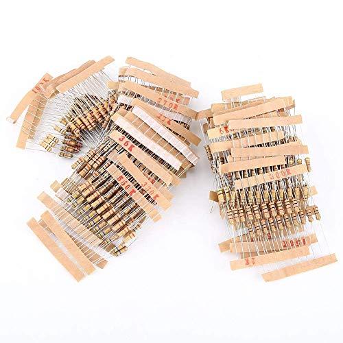 ARCELI 100Values 1000pcs 1-10M ohm 12W Carbon Film Resistor Assortment Kit