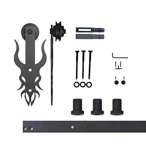 Vancleef 45FT Single Door Kit Sliding Barn Door Hardware Imperial Design Industrial Strength Black Rustic Interior and Exterior Use with Quiet Glide Roller and Descriptive Installation Manual