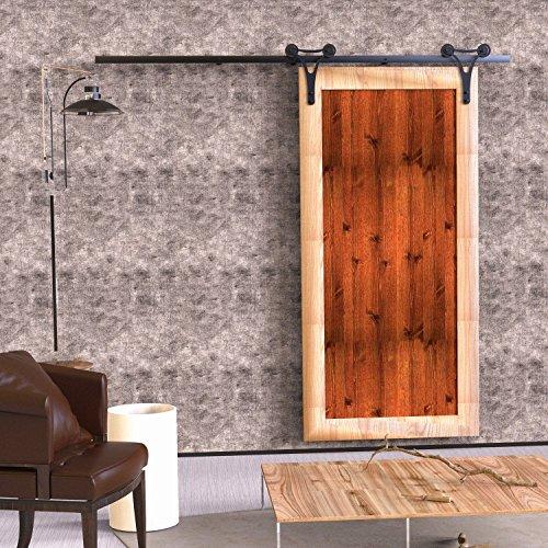 Vancleef 4FT Single Door Kit Sliding Barn Door Hardware Horns Design Industrial Strength Black Rustic Interior and Exterior Use with Quiet Glide Roller and Descriptive Installation Manual