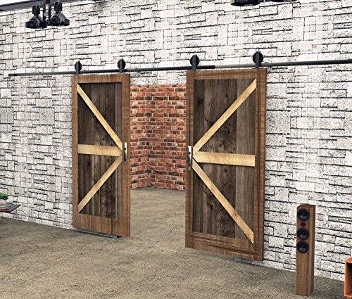 Vancleef 55FT Double Door Kit Sliding Barn Door Hardware Bend T-Shape Black Wheel Design Black Rustic Interior and Exterior Use With Quiet Glide Roller and Descriptive Installation Manual