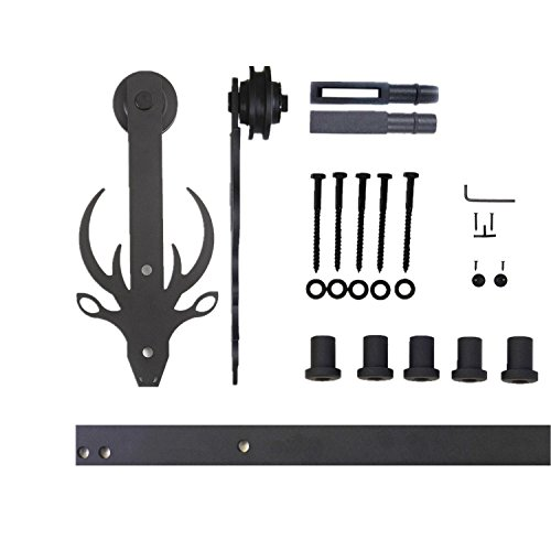 Vancleef 6FT Single Door Kit Sliding Barn Door Hardware Bucks Design Industrial Strength Black Rustic Interior and Exterior Use with Quiet Glide Roller and Descriptive Installation Manual