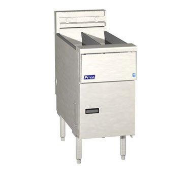 Natural Gas Pitco SG14-S 40 - 50 lb Stainless Steel Floor Fryer - 4 Tubes 110000 BTU