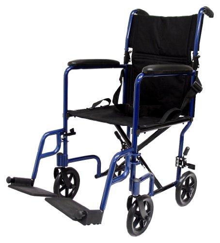Karman Healthcare LT-2017-BL Folding Aluminum Transport Chair Blue 17 Seat Width