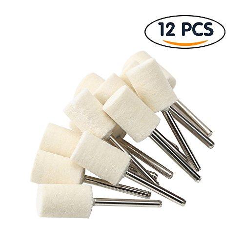 Shintop 12pcs Felt Point Polishing Tool Wool Felt Buffing Mounted Point Cylindrical White
