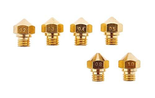 3D Printer M7 Thread MK10 Nozzles for 175MM Filament 2mm 3mm 4mm 5mm 8mm 10mm 1 Each Wanhao Dupicator D4I3 Makerbot 2