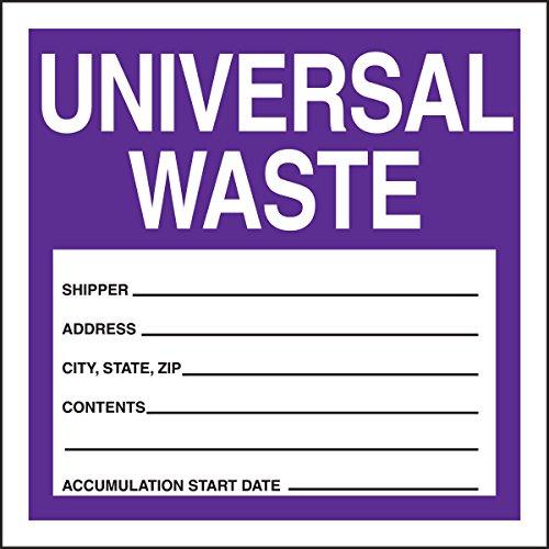 Accuform MHZW17PSC Adhesive Coated Paper Hazardous Waste Label Legend UNIVERSAL WASTE - SHIPPER - ADDRESS - CITYSTATEZIP - CONTENTS - ACCUMULATION START DATE -  4 Length x 4 Width PurpleBlackWhite Pack of 100