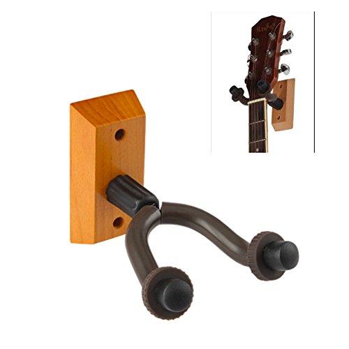 Mike Home Heavy Duty Wall Mount Display Guitar Hanger Wood Base Guitar Hook Fits GuitarsBassUkulele Pack of 1