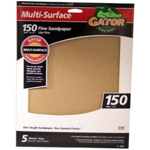 Gator Finishing 4442 150 Grit Aluminum Oxide Sanding Sheets 5 pack 9 x 11