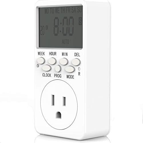 Outlet Timer Digital Countdown Plug-in Timer Outlet 7 Day Weekly Programmable 110V AC Power Outlet Timer Energy-Saving Indoor Timer Plug
