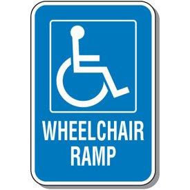 Engineer-Grade Reflective Aluminum Wheelchair Ramp Sign - 18h x 12w White  Blue