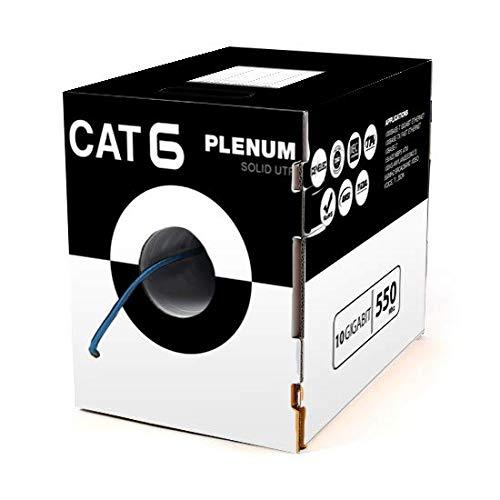 Plenum Cat6 1000ft Cable Solid Network Ethernet 10Gigabit 550Mhz Fluke Tested EIA TIA ETL Big Payout Pull Box Blue