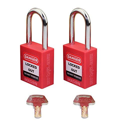 Mason Lockout Tagout 2 PACK KEYED ALIKE Safety Lockout Padlock Red LOTO