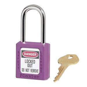 Master Lock 410PRP Purple 1 12 X 1 34 Zenex Thermoplastic Lightweight Safety Lockout Padlock With 14 X 1 12 Shackle 410 Key 6 Locks Per Set Keyed Differently 6EA