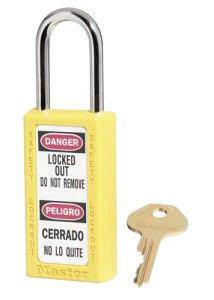 Master Lock 411YLW Yellow 1 12 X 3 Zenex Thermoplastic Bilingual Lightweight Safety Lockout Padlock With 1 12 Shackle 6 Locks Per Set Keyed Differently 6EA