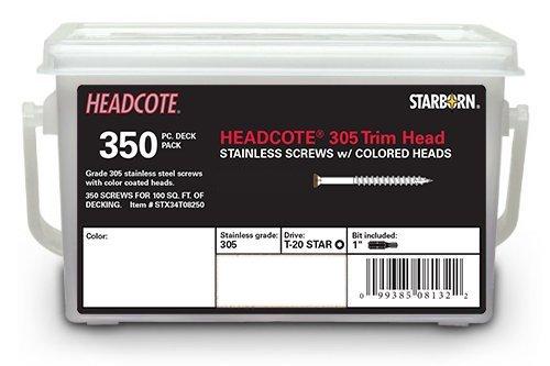 Headcote 8 x 2-12 - 81 Cedar - Stainless Steel Trim Head Deck Screws - 350 pc Deck Pack for 100 Sq Ft of Decking - STX81T08250