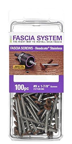 Headcote Stainless Steel Fascia Screws 9 x 1-78 T-20 Star Drive Chocolate 100 Pieces