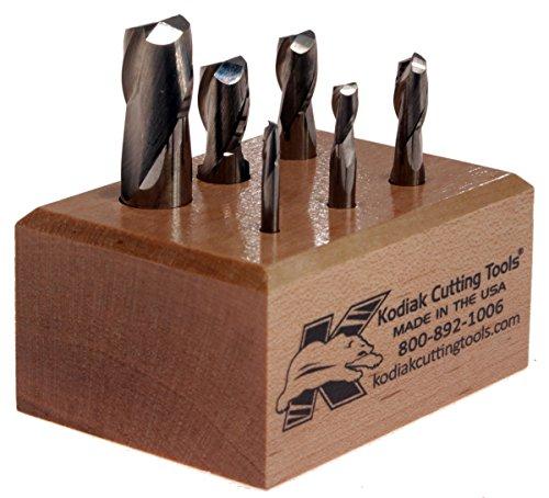Kodiak Cutting Tools QI-8IZT-0CIW USA Made Premium Micrograin Carbide End Mill Set 2 Flute 18-12 Pack of 6