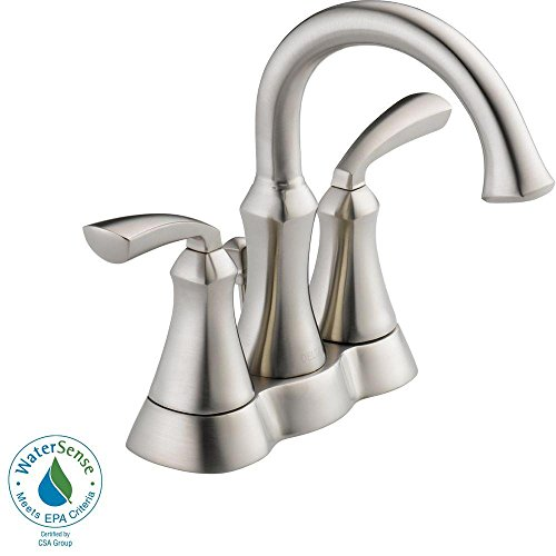 4 in Centerset 2-Handle Bathroom Faucet with Metal Drain Assembly in Stainless