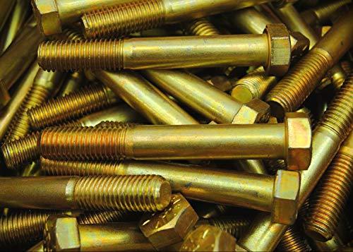20 PCs Hex Head Bolts 916-12 x 4 Coarse Thread Grade 8 Yellow Zinc USA Metric Hardware Fastener Bolts Kit